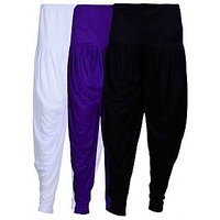 Pack of 3 White, Violet And Black Viscose Dhoti