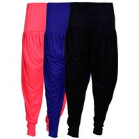 Fashion And Freedom Women's Pack of 3 Black, Pink And Blue Lycra Base Viscose Dhoti