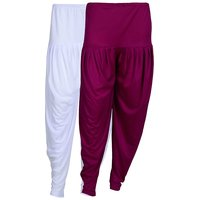 Pack of 2 White And Purple Viscose Dhoti
