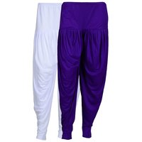 Pack of 2 White And Violet Viscose Dhoti