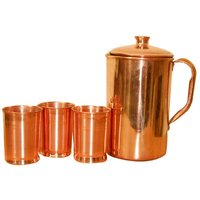 Copper Jug With Set Of 3 Copper Glasses
