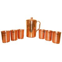 Copper Jug With Set Of 6 Copper Glasses