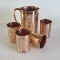 COPPER JUG WITH FOUR PIECE GLASS SET,KITCHEN,GIFT,HANDICRAFT KITCHENWARE