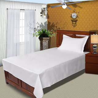 Just Linen 300 TC 100% Cotton Sateen Solid White Color Single Size Duvet Cover