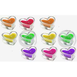 Floating Coloured Gel Candles (Set of 10 Pcs.)
