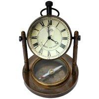 Antique Clock N Compass Pure Brass Handicraft