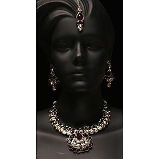 Sanskaar Bridal Set With Green And Voilet Diamond (AJN-SJ-15016)