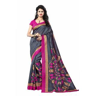 Vistaar Creation Designer Grey Bhagalpuri Silk Printed Saree available at  ShopClues for Rs.379 86292c6cc