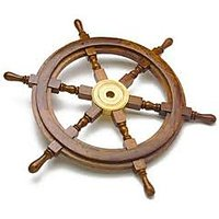 18''Nautical Wooden Ship Wheel With Brass Hub Pirate Ship Marine Decor Item.