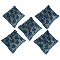 GRJ India Chenille Cushion Cover With Cotton Lining On Back - Daisy Blue - (Set Of 5 Pcs)