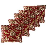 GRJ India Chenille Cushion Cover With Cotton Lining On Back - Marigold Maroon - (Set Of 5 Pcs)
