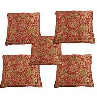 GRJ India Chenille Cushion Cover With Cotton Lining On Back - Oleander Tamato - (Set Of 5 Pcs)