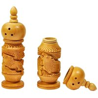 Hand Carved Wooden Salt Pepper Dispenser Gift