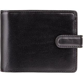 Visconti Atlantis Bi-Fold Black & Red Genuine Leather Mens Wallet With RFID