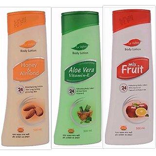 La Valley Body Lotion Honey Almond Aloevera And Mix Fruit 500ml EACH