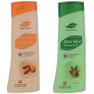 La Valley Body Lotion Aloevera 500ml Honey Almond 500ml Pack Of 2