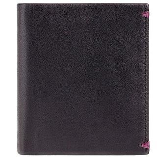 Visconti Brig Bi-Fold Black & Burgundy Genuine Leather Mens Wallet