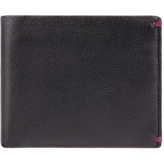 Visconti Montreux Bi-Fold Black & Burgundy Genuine Leather Mens Wallet
