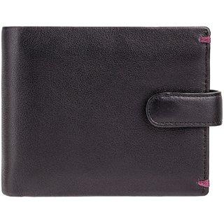 Visconti Lucerne Bi-Fold Black & Burgundy Genuine Leather Mens Wallet
