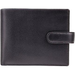 Visconti Leonardo Bi-Fold Black & Cobalt Genuine Leather Mens Wallet With RFID