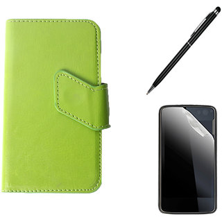 Callmate Sticker Flip Case For Micromax A28 Bolt+ Screen  Guard + Stylus Pen