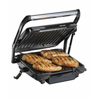 Hamilton Beach Updated Indoor Grill And Panini Press 25451 With 2 Skewer