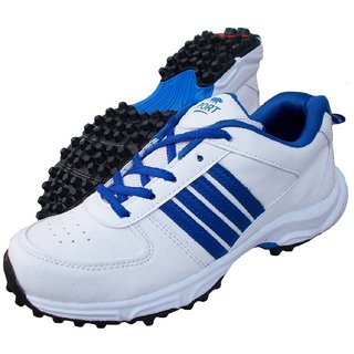 Port White Mens Booster 171 PU Cricket Shoes (White)