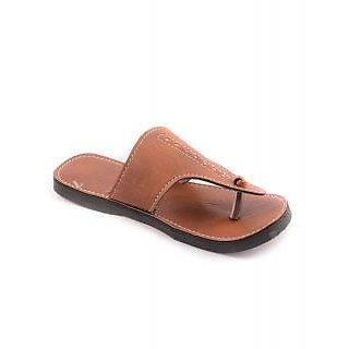 Mens Brown Velcro Slipper