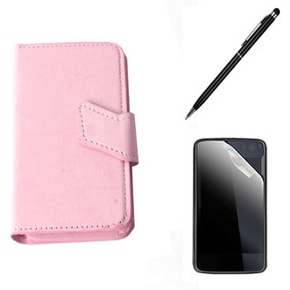 Callmate  Sticker Flip Case For Micromax Canvas Turbo A250 + S.G + Stylus Pen