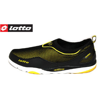 Lotto Buruno Black And Yellow Men Sports Shoes Loafers Slip On Running Shoes