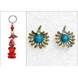 Set Of A Pearl Blue Studded Earing With A free Key Chain ER 2 available at ShopClues for Rs.175