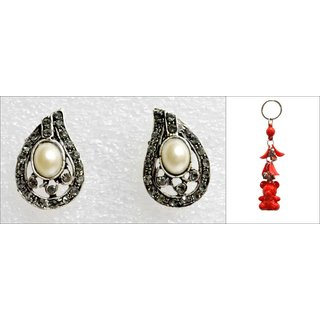 Set Of Pearl White Studded Earing With A Free Key Chain ER 5 available at ShopClues for Rs.125