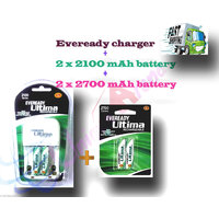Original Eveready Charger + 2 X 2100 + 2 X 2700 MAh NiMH Rechargable Batteries