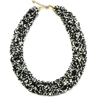 Beadworks hand Woven Black & White Necklace