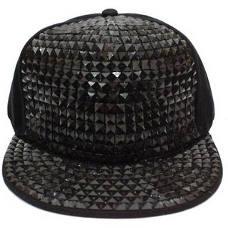 Stylish Look Black Acrylic Hip Hop Snapback Cap