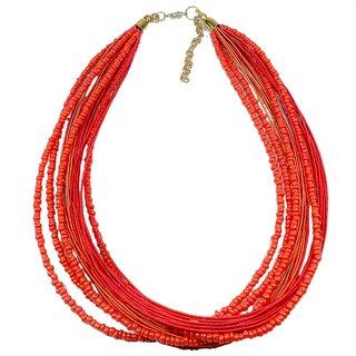 Beadworks Red & Orange Multi Strand Necklace