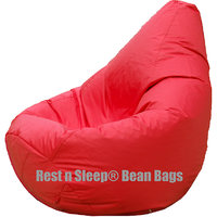Rest N Sleep - Bean Bags / Chair With Beans - Pear Shape - Red Color - XL