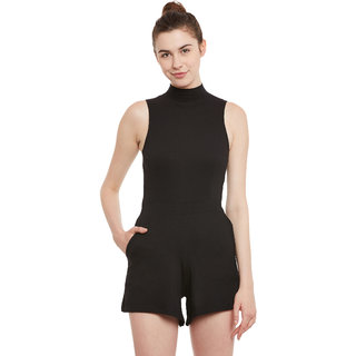 Miss Chase Black Cotton Plain Jumpsuits For Women