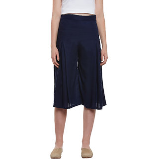 Miss Chase Navy Plain Pant For Women