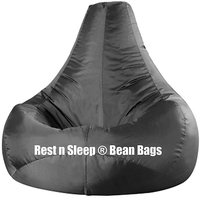 Rest N Sleep - Bean Bags / Chair Cover Only - Pear Shape - Black Color - XXL