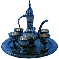 Antique Black Royal Wine Set Pure Brass Handicraft