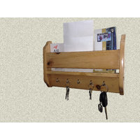 Alpha Key & Mail Rack In Solid Wood - Natural Finish