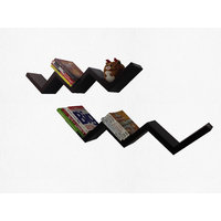 Alpha Zig-Zag Wall Shelf In Solid Wood- Walnut + Walnut Finish (Combo)