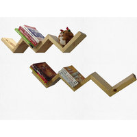 Alpha Zig-Zag Wall Shelf In Solid Wood- Natural + Natural Finish (Combo)