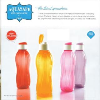 Tupperware Aquasafe Fliptop Bottle 1 ltr (Set of 4)