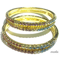 Fancy GOLD Plated Bangles With White, Pink, Red, Green & Blue Stones (SIZE-2.4)