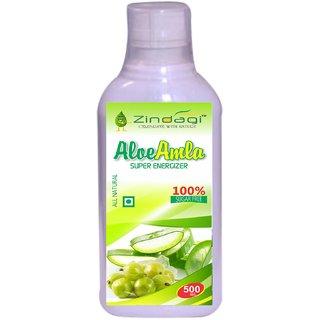 Zindagi Pure Aloe Amla Juice - Natural Energy Drink - Pure Extract Of Aloe Amla (500ml)