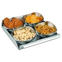 Mosaic- Snack Bowl Tray Serving Set (set Of 4Pcs) With Free Glass Ashtray