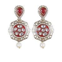 Rajwada Arts Stylish Kundan Earring With Red Stone And Pearls