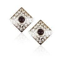 Rajwada Arts Stylish Square Earrings With Black Stone
